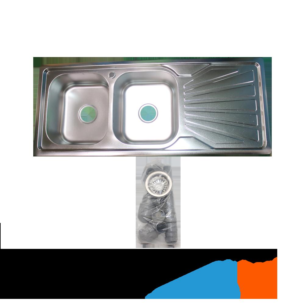 Evier 2 Bacs Inox Siphon Ref Tredex